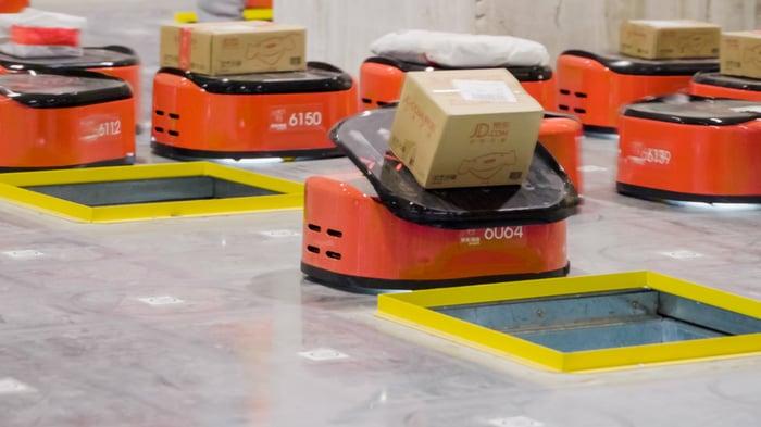 Sorting robots at a JD.com warehouse.