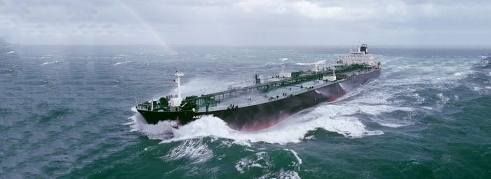 """A """"Suzemax"""" classification vessel in open ocean waters."""
