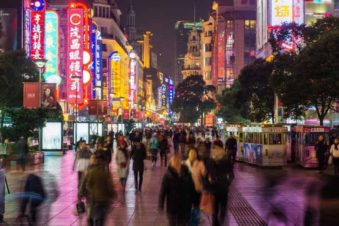 Crowd in Nanjing Road in Shanghai at night.