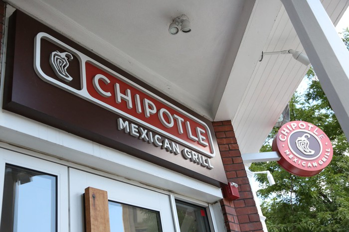 The exterior of a Chipotle location.