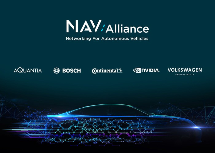 A graphic that shows the trademarks of the five companies in the NAV Alliance above a stylized picture of a sporty car.