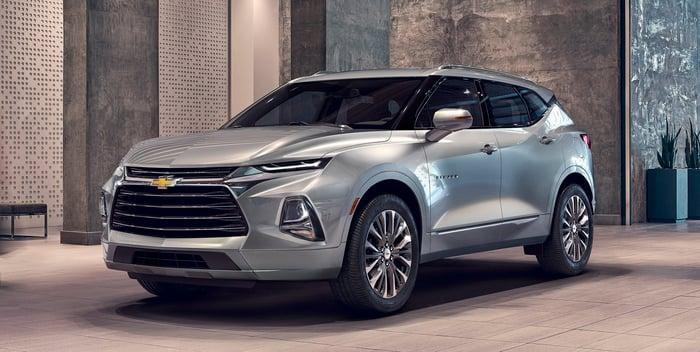A Silver 2019 Chevrolet Blazer Midsize Crossover Suv