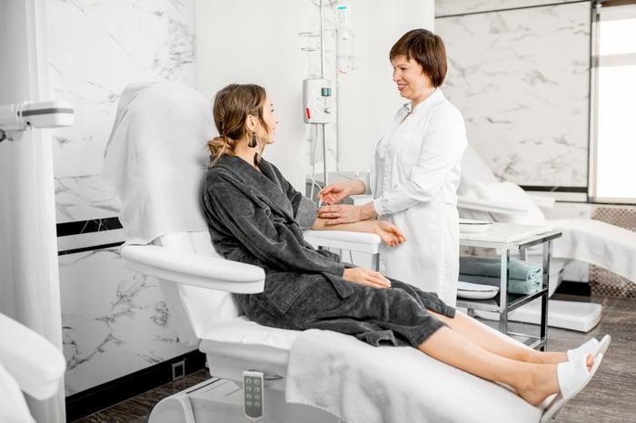Patient undergoing hemodialysis.