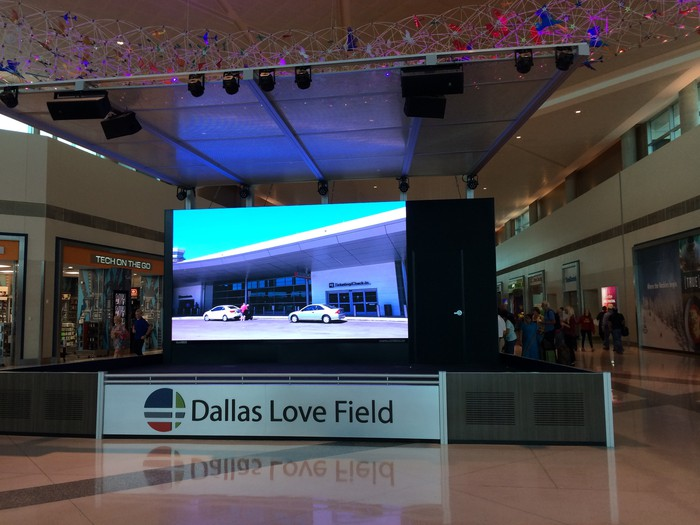 A video screen inside the Dallas Love Field terminal