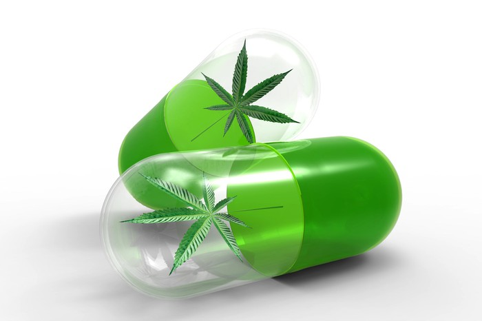 Capsules with cannabis leaf inside.