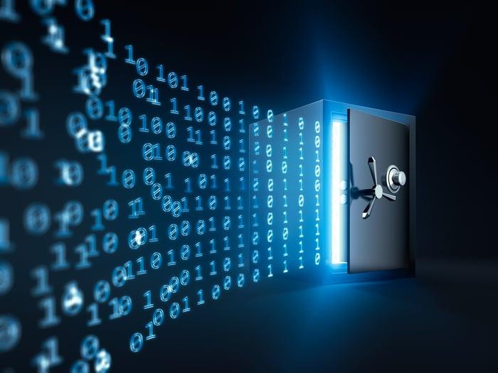 Digital numbers sliding into a safe