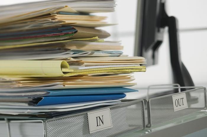 Huge pile of work in an inbox.