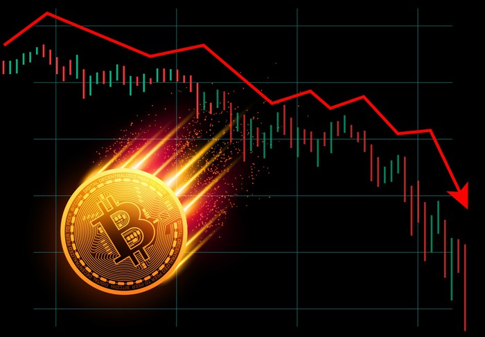 A physical gold bitcoin on fire and heading lower with a declining chart in the background.