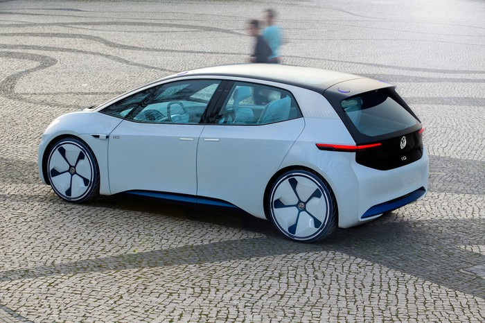 The Volkswagen I.D. concept vehicle, a sleek-looking white hatchback