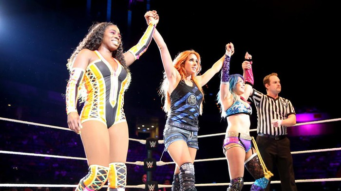 WWE wrestlers Naomi, Becky Lynch, and Asuka
