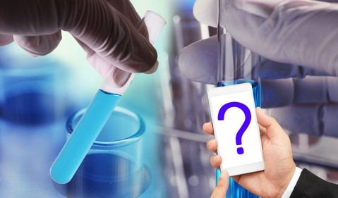 Test tube and question mark