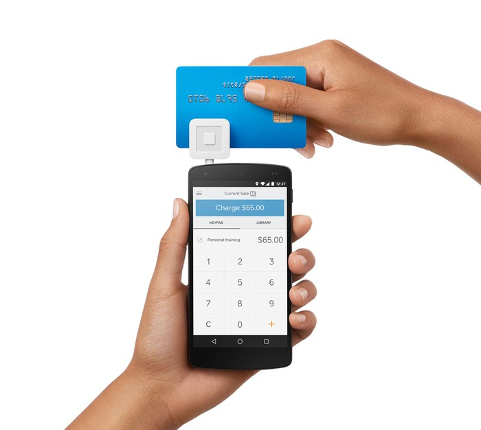 A photo of Square's point-of-sale terminal