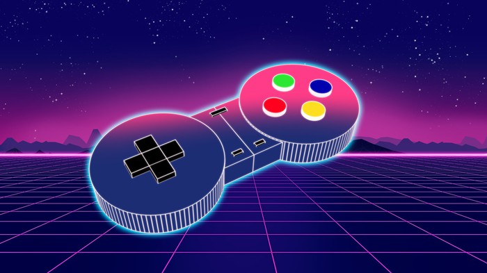 A video game controller against a purple background