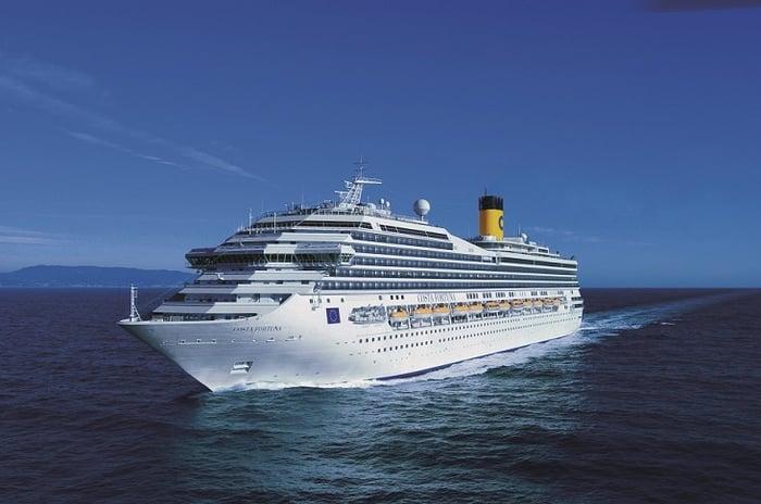 Carnival Cruise ship Costa Fortuna moving through the ocean.