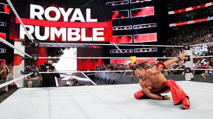WWE wrestler Shinsuke Nakamura striking a celebratory pose at Royal Rumble 2018.