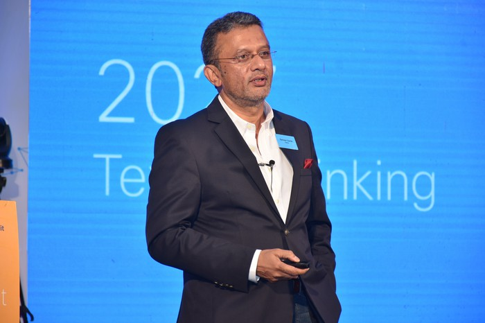 President of Cisco India and SAARC, Sameer Garde, at the Cisco India Annual Media and Analyst Summit.