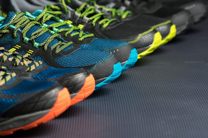 A row of athletic shoes.
