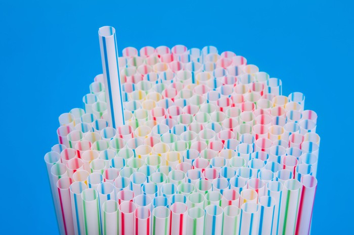 A bunch of plastic straws