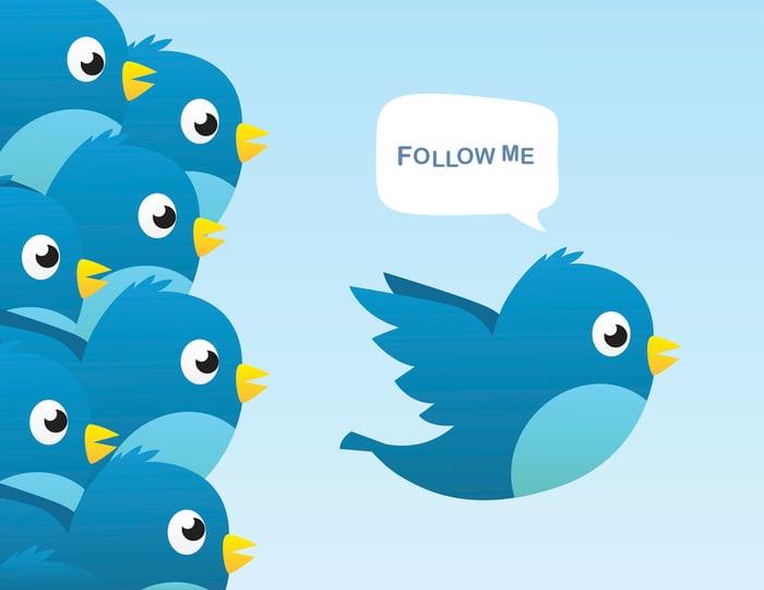 A blue, cartoon bird saying follow me and being followed by other blue, cartoon birds.