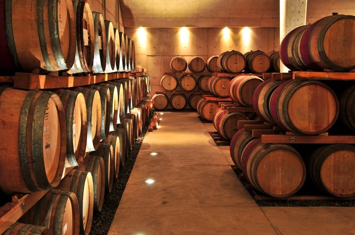 Rows of wooden wine barrels in well-lit cellar.