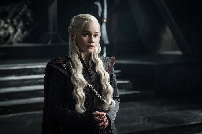 A scene from HBO's Game of Thrones featuring Emilia Clarke