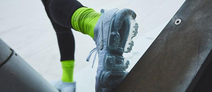 A pair of Nike sneakers.