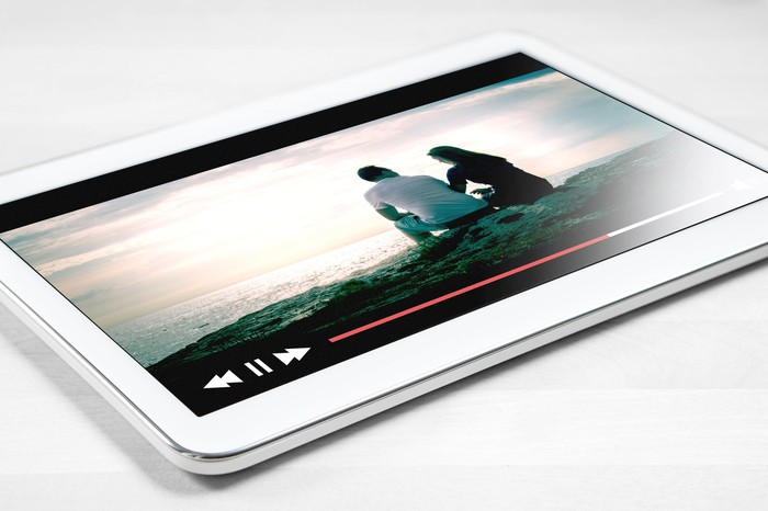A TV show streaming on a tablet