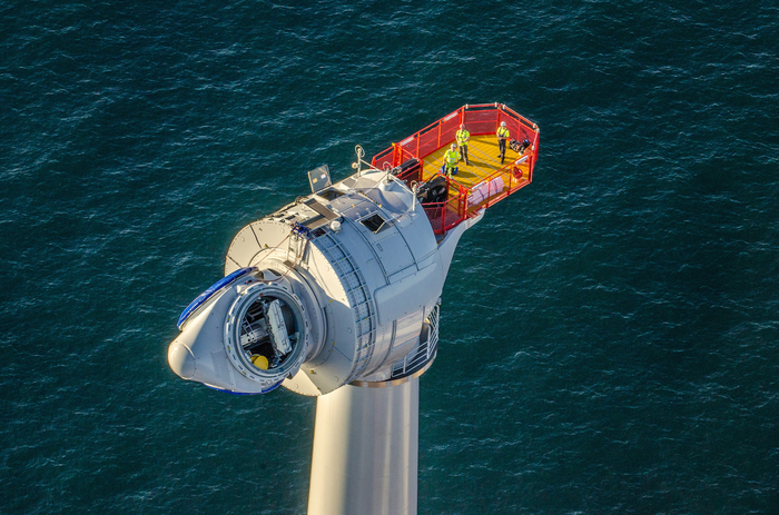 An offshore wind turbine.