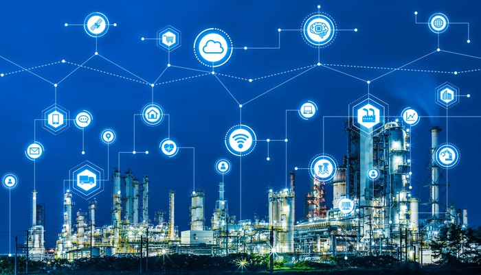 A connected collection of icons representing things including transportation, cloud software, wireless internet, and industry above a factory.