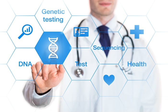 Physician pointing to icon of DNA sequence with other icons related to genetic testing also on the screen