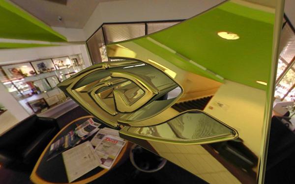 A metallic 3-D Nvidia logo in a lobby at the company's headquarters.