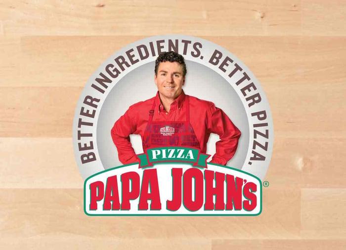 The Papa John's logo featuring John Schnatter.