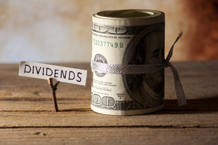 A sign labeled dividends next to a roll of $100 bills