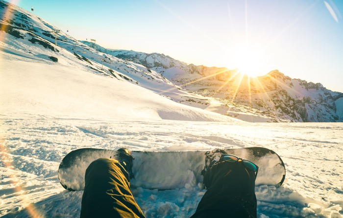 Snowboarder on a mountain.