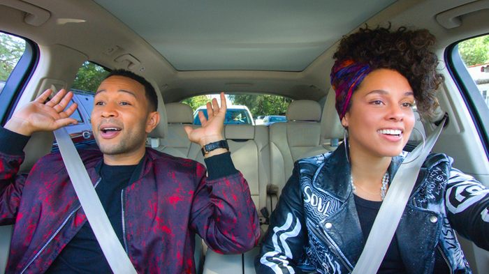 "John Legend and Alicia Keys sing in a car as they participate in Apple's original show called ""Carpool Karaoke: The Series"""
