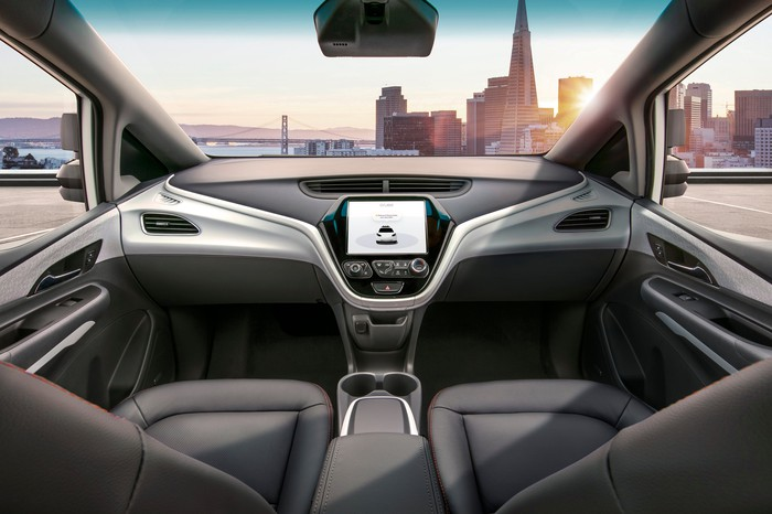 Interior of GM's Cruise AV with no pedals or steering wheel.