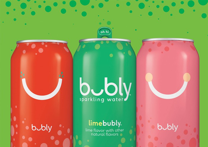 "Three cans of Pepsi's new ""bubbly"" sparkling water beverage."