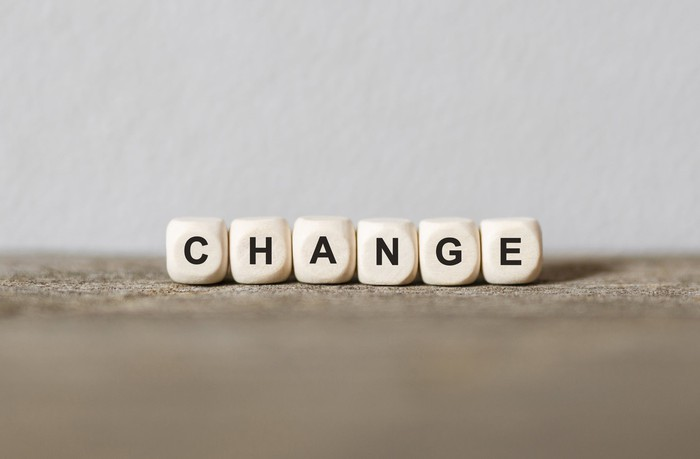 The word change spelled out in wood blocks.