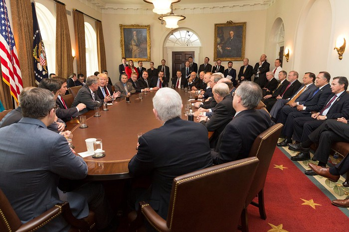 President Trump meeting with his cabinet and House Freedom Caucus members.