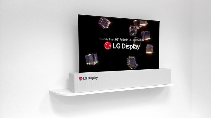 "An LG 65"" rollable LEG Display screen."
