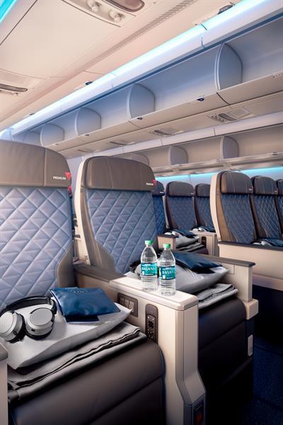 The interior of a Delta Premium Select cabin