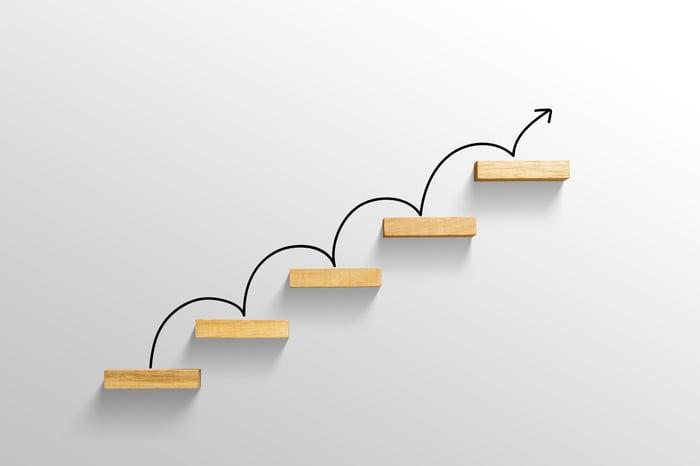 A an arrow bouncing along five ascending steps.