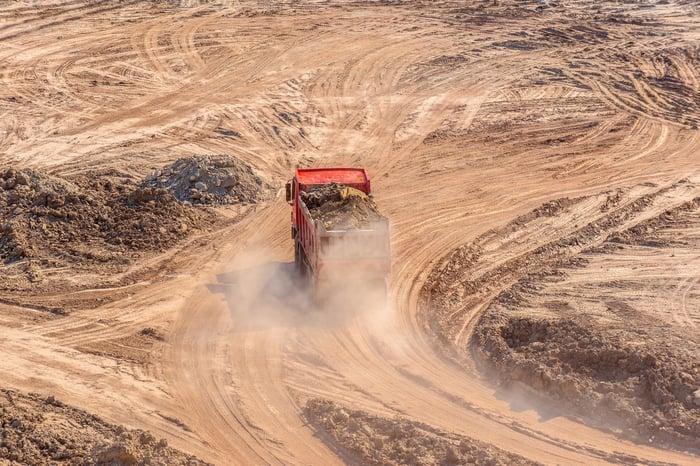 A mining truck.