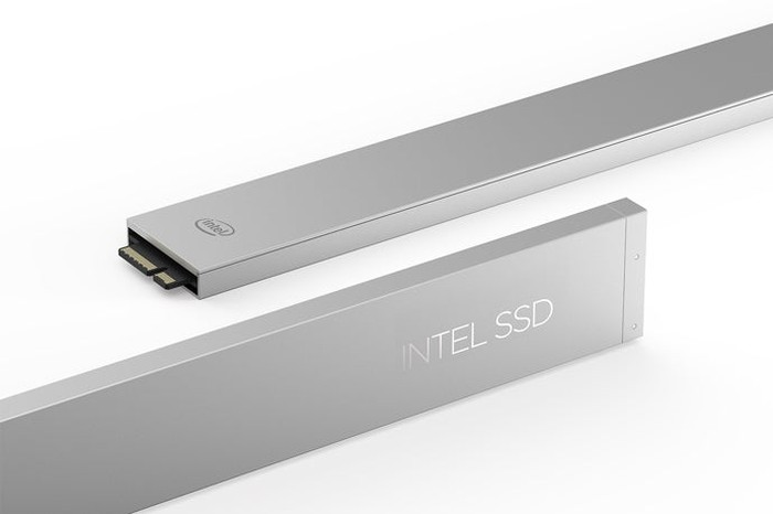 Silver Intel data center solid state drives.