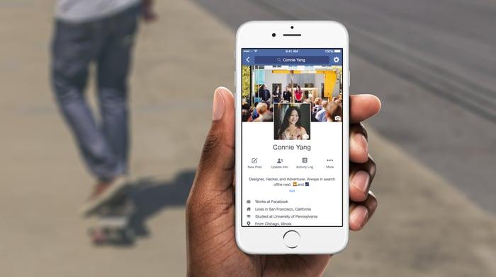 The Facebook app on a smartphone.
