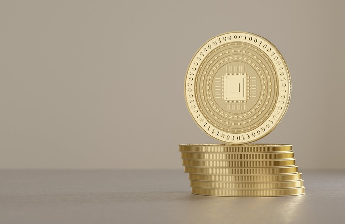 stack of gold coins with zeroes and ones on them