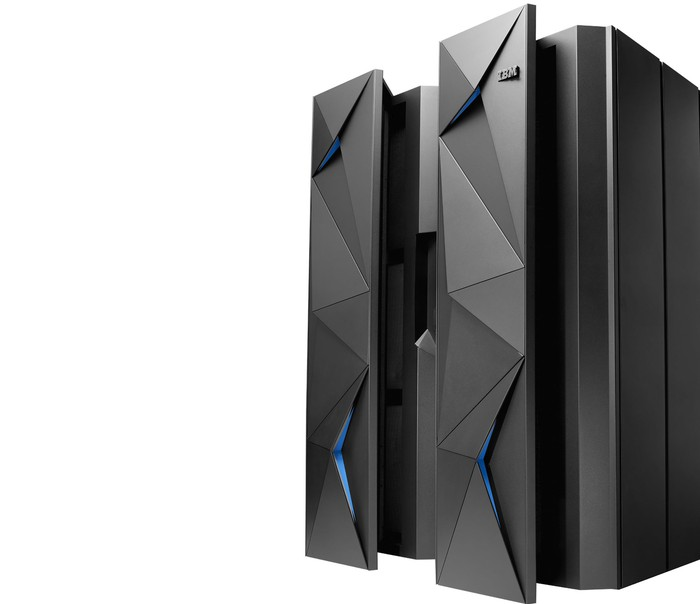 A black System Z mainframe system against a stark white background.