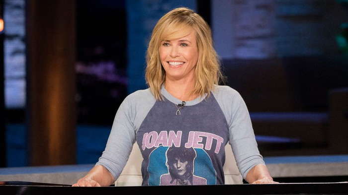 Chelsea Handler on the set of Netflix's first talk show.