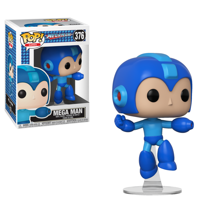 A Pop! figurine of Mega Man.