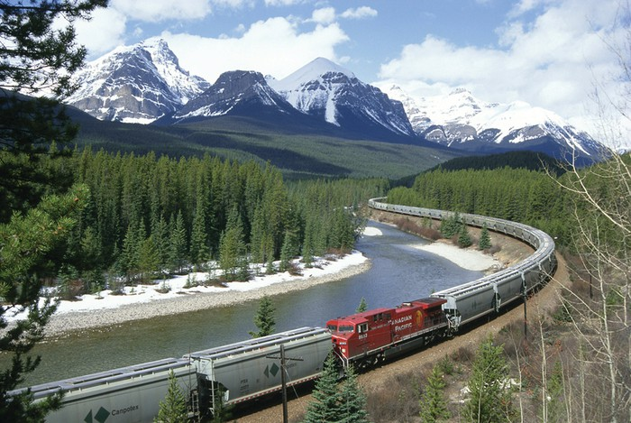 Canadian Pacific train in the mountains.